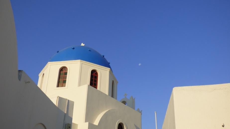 Orthodox Church and the moon –Santorini